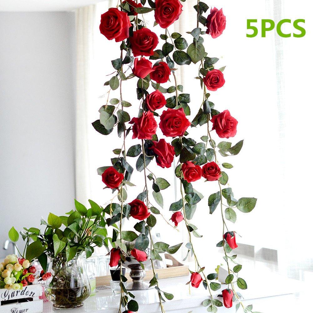 Fake Red Rose Vine Garland, Pack of 5 Artificial Flower, Decorative Hanging Emulational Plant for Hotel/Wedding/Home/Party Garden Craft Art Decor