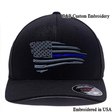 5654cf3045f4bf New American Thin Blue Line Waving Flag. 6477 Flexfit Wool Blend Cap (S/