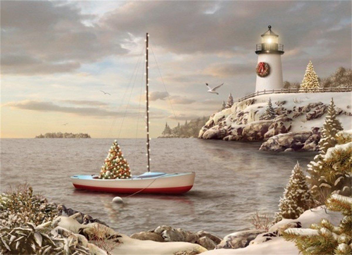 Barca a vela e faro  Christmas Cove – Scatola di 18 Alan Giana biglietti di Natale