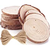 Caydo 10 Pieces 3.15-3.94 Inch Unfinished Predrilled Wood Slices Thickness of 1cm Solid Round Log Discs and 33 Feet Natural Jute Twine for Christmas Ornaments Decorations