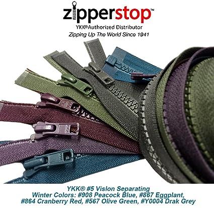 36 inch Dark Olive Green /& Brass Metal #5 YKK Separating Zipper New!