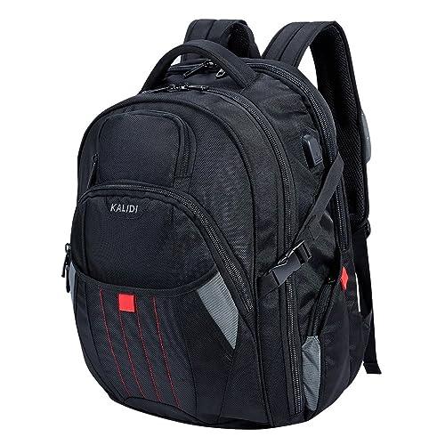 KALIDI 17 inch Laptop Backpack,Large Capacity Waterproof Shockproof USB Charging Rucksack fits up to 17.3 inch laptop,Black