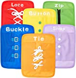Yoovi Early Learning Basic Life Skills Learn to Dress Boards - Zip Snap Button Buckle Lace & Tie 6 pcs/set