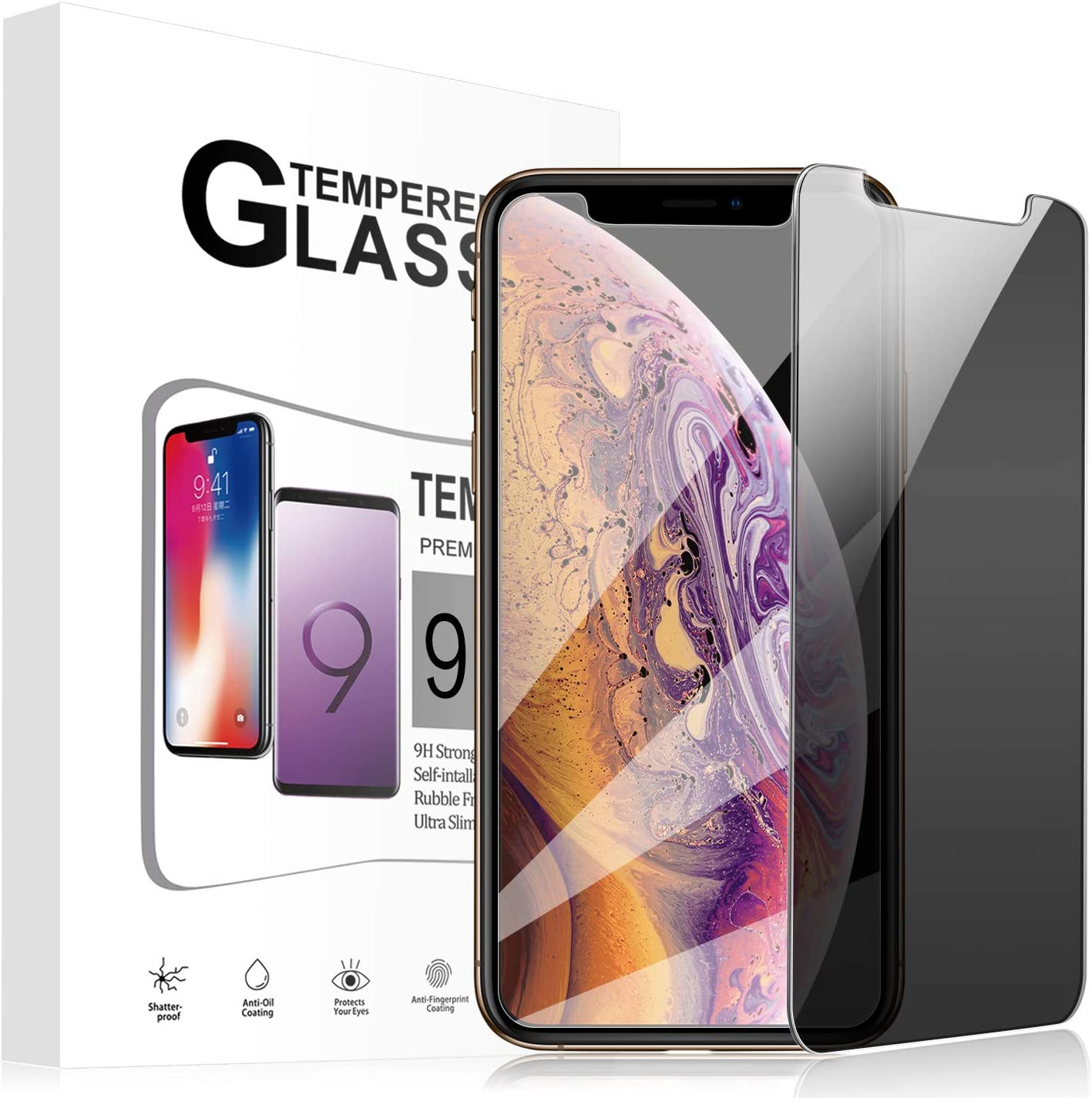 ANFEEL Full Privacy Tempered Glass for iPhone Xs Max Screen Protector for iPhone Xs Max Anti Spy Peeping Film 3D Easy to Install Scratch Proof Fingerprint Free Bubbles 6.5 Inch 10-Pack