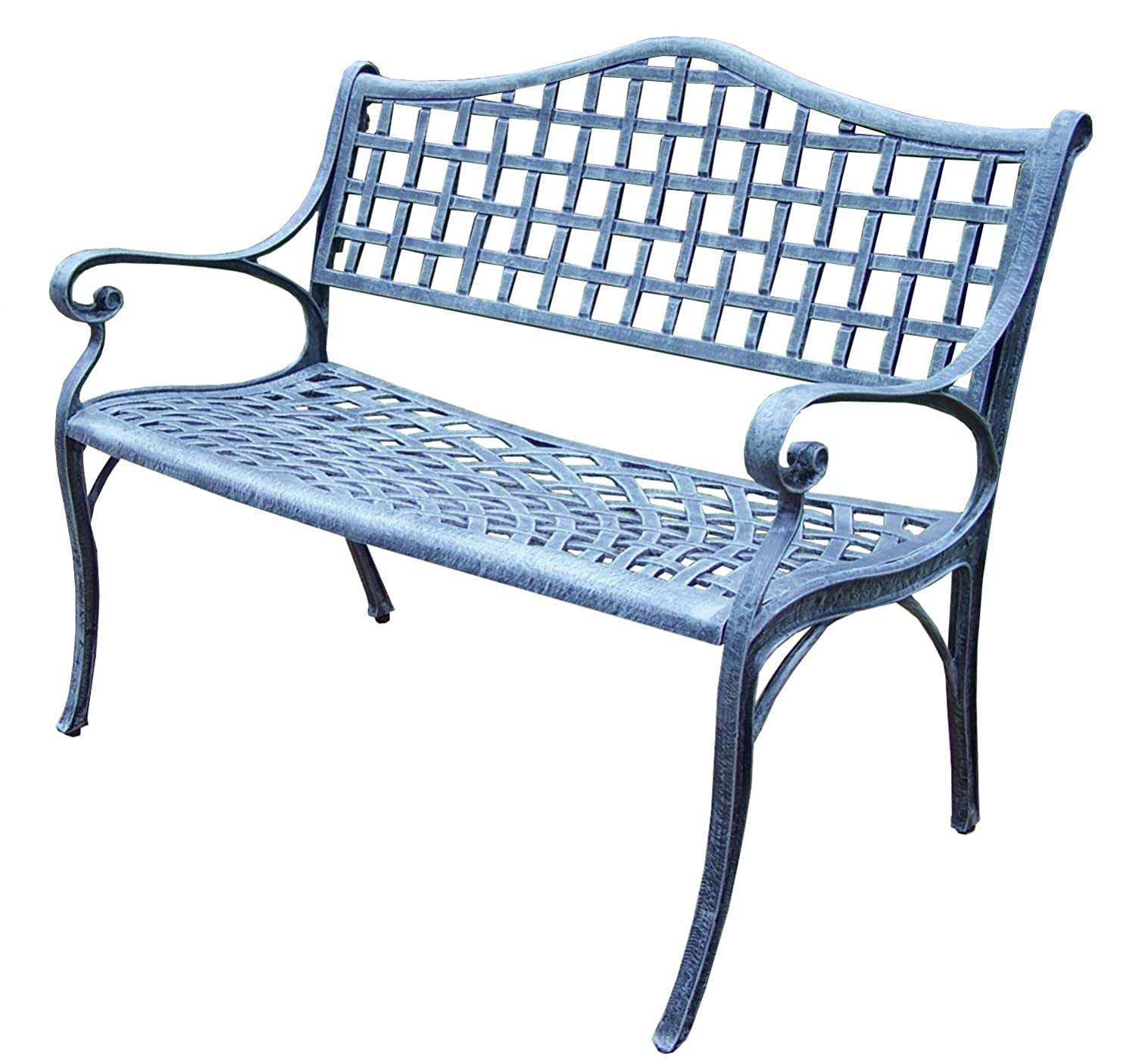 Oakland Living Elite Cast Aluminum Settee Bench, Verdi Grey