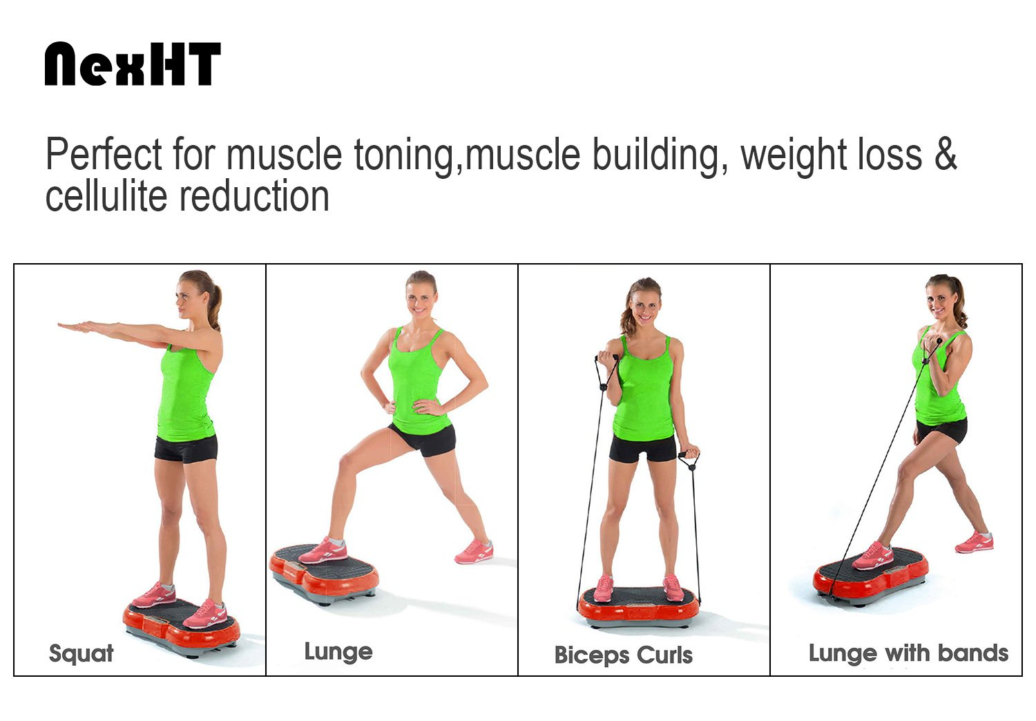 NexHT Mini Fitness Vibration Platform Whole Body Shape Exercise Machine with Built-in USB Speaker(89012A), Fit Vibration Plate Massage Workout Trainer with Two Bands &Remote,Max User Weight 330lbs.Red by NexHT (Image #8)