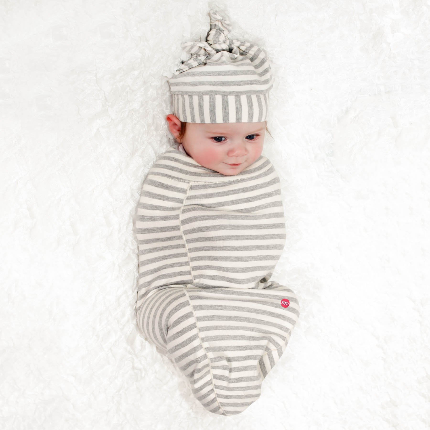 Cozy Cocoon Baby Cocoon Swaddle and Matching Hat, Gray Stripes, 0-3 months by Cozy Cocoon (Image #2)