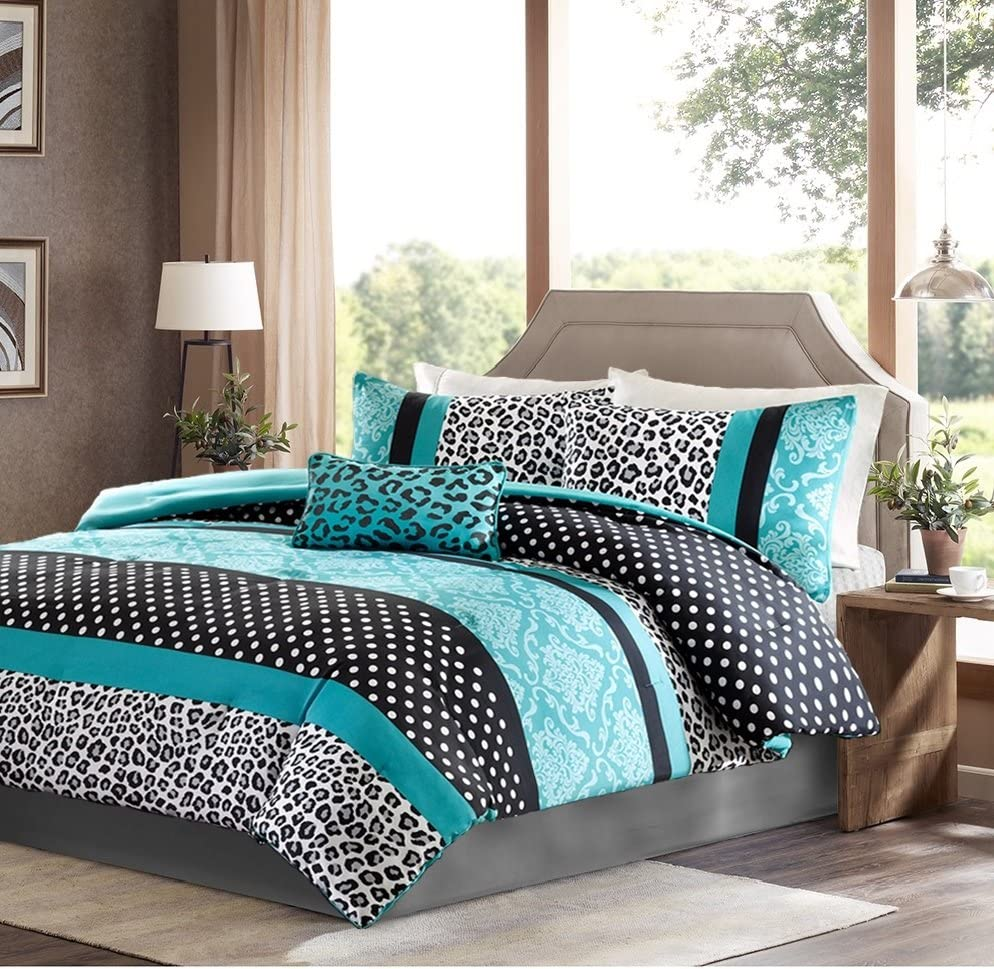 Girls Bedding Set Kids Teen Comforter Turquoise Black White Leopard and Damask Print with Polka Dots Stripes and Accent Pillow Includes Exclusive Designer