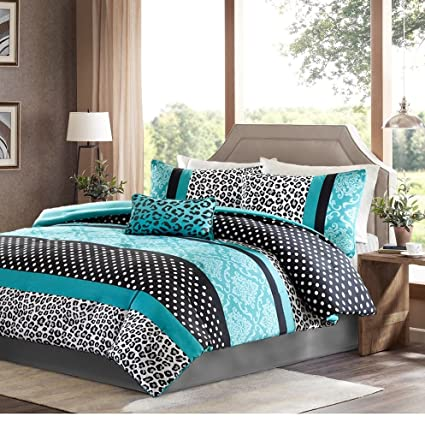 Girls Bedding Set Kids Teen Comforter Turquoise Black White Leopard Damask  Print With Polka Dots Stripes