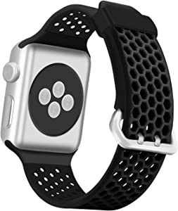 eseekgo Compatible with Apple Watch Band 44mm Series 5 Series 6 SE 40mm Series 4, Compatible with Apple Watch Sport Band Series 3 38mm 42mm, Soft Silicone Bands for iWatch Series 2 1 for Men Women