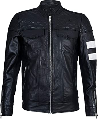 Men/'s Vintage Black Retro Casual Zipped 100/% Leather Racing Quilted Biker Jacket