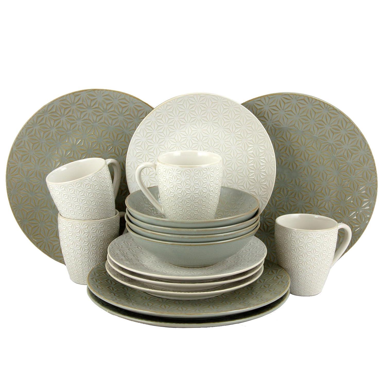 Amazon.com   elama Olive Terrace Ivory/Green Stoneware Service for 4 Textured Dinnerware Set (Case of 16) Dinnerware Sets  sc 1 st  Amazon.com & Amazon.com   elama Olive Terrace Ivory/Green Stoneware Service for 4 ...