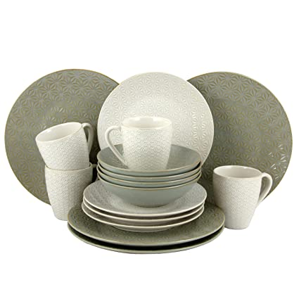 elama Olive Terrace Ivory/Green Stoneware Service for 4 Textured Dinnerware Set (Case of  sc 1 st  Amazon.com & Amazon.com | elama Olive Terrace Ivory/Green Stoneware Service for 4 ...