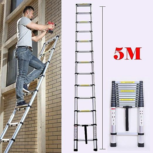 2019 - Extensión telescópica de aluminio para escalera (5 m, 13 peldaños), diseño plegable: Amazon.es: Bricolaje y herramientas
