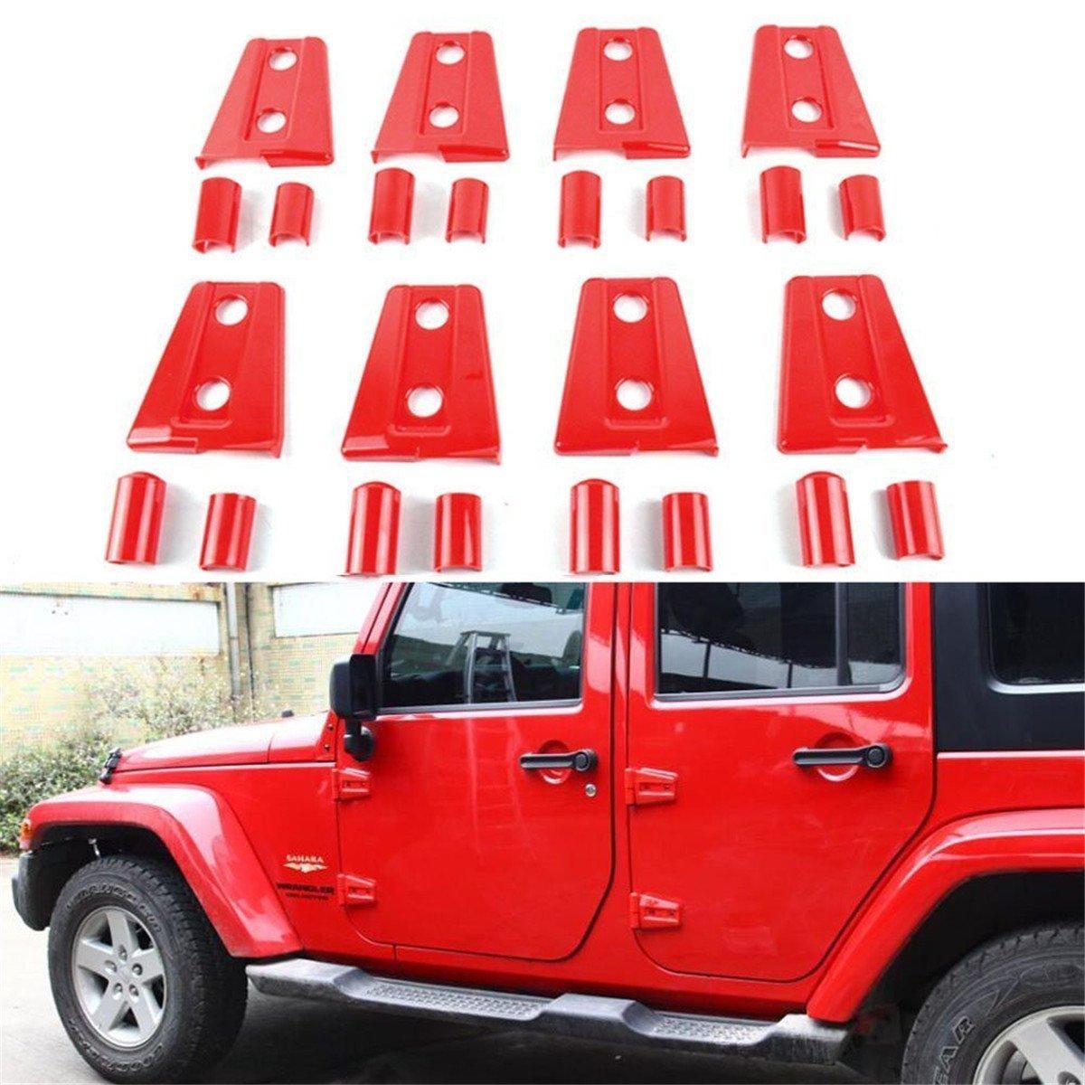 FMtoppeak One Set of 8 Pcs Red ABS Door Trim Engine Hood Hinge Cover For 2007-2017 Jeep Wrangler JK 4 Door