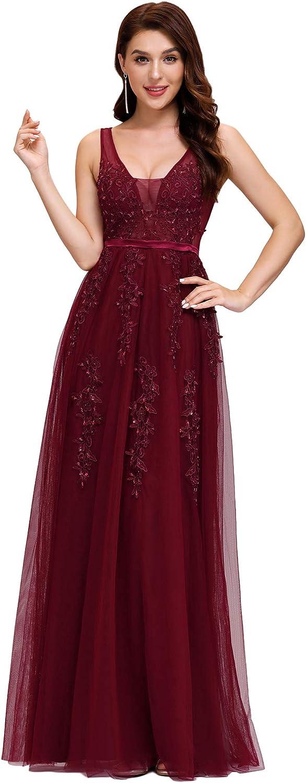 Ever-Pretty Vestiti da Cerimonia Manica Lunga Scollo a V Linea ad A Elegante Tulle con Lustrino Donna 00844