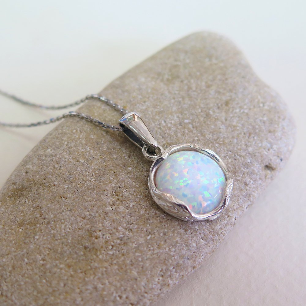 925 Sterling Silver White Opal Necklace