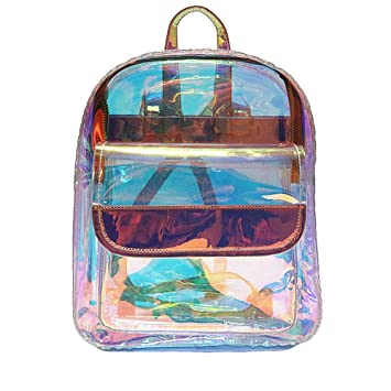 8338c93c16d Amazon.com   Clear Laser Backpack Hologram Transparent Holographic Bags for Women  Teens Beach Bag   Casual Daypacks