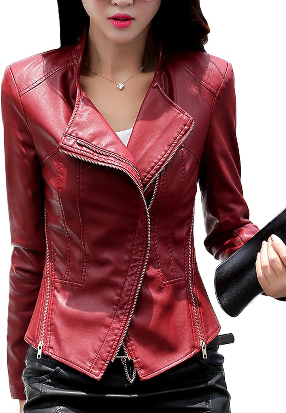 Tanming Women's Short Slim Slant Zip Faux Leather Moto Jacket Multiple Colors