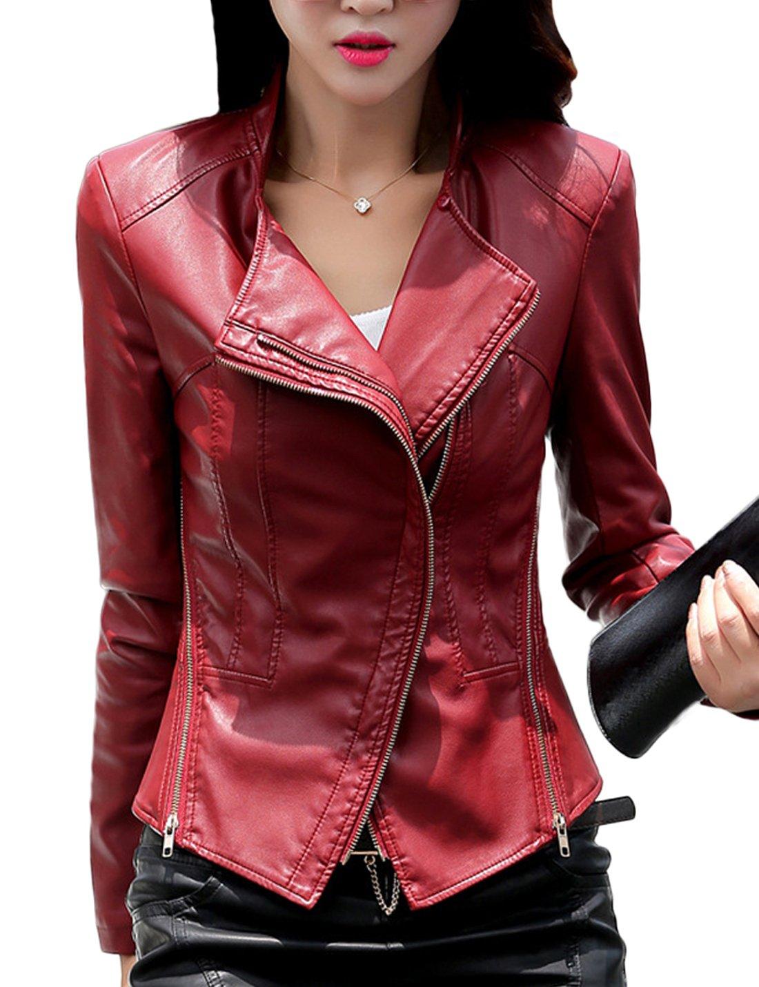 Tanming Women's Short Slim Slant Zip Faux Leather Moto Jacket Multiple Colors (Medium, Jujube red) by Tanming