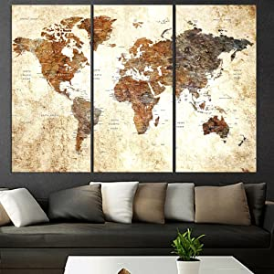 Original Art Set Of 3 Pieces Textured World Map Push Pin Canvas Wall Art For Living Room Large Canvas Print, World Global Map With Names, Framed, Extra Large Wall Art For Travel Home Decor Qn73