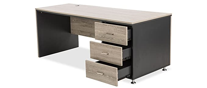 Durian Radius Home Office Desk (Matte Finish, Silver Oak and Dark Grey)