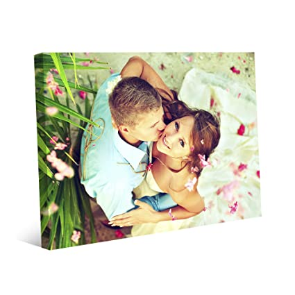 b4c051145b9d Amazon.com: Picture Wall Art Your Photo on Custom Canvas Gallery Wrapped 10  x 8 Horizontal Print Stretched Over Standard Wooden Frame: Posters & Prints