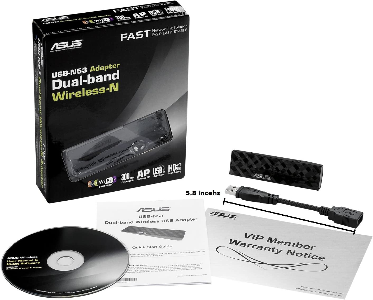 Wireless-N USB Adapter with Graphical Easy Interface USB-N53 2.4GHz 300Mbps//5GHz 300Mbps Asus Dual Band