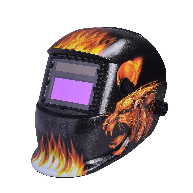 Pro Auto Darkening Solar Powered Welding//Grinding Helmet Mask Lightning Skull