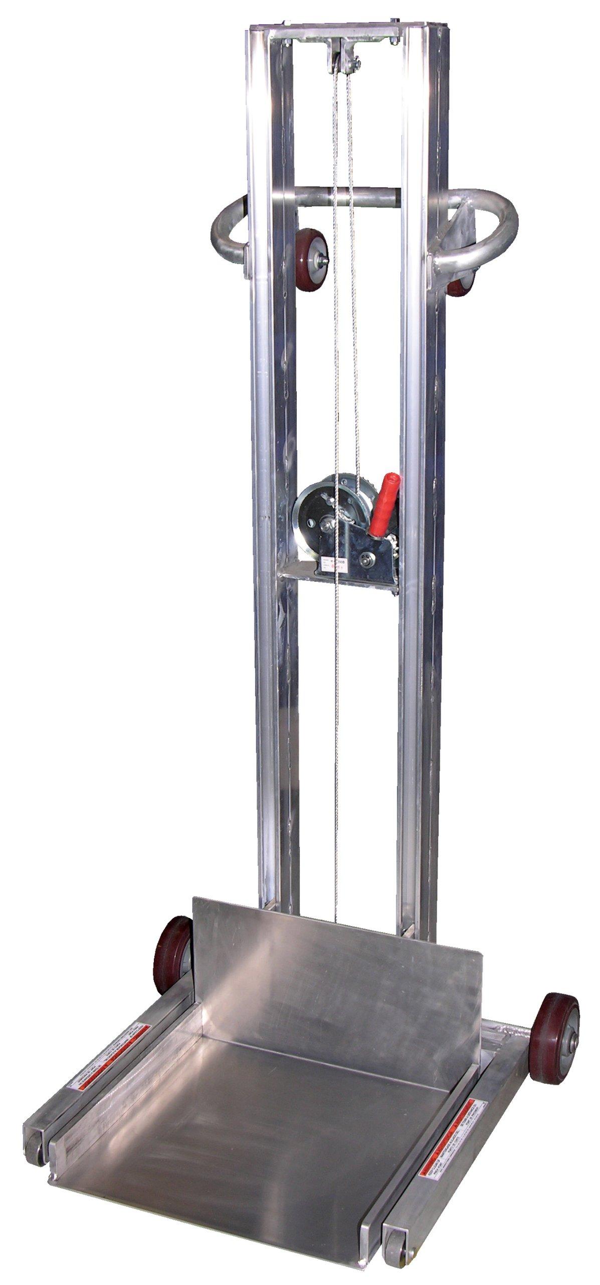 Vestil ALLPW-500-FW Aluminum Low Profile Lite Load Lift Winch, 400 lbs Capacity, 20'' Length x 20'' Width Platform, 1/4'' - 55'' Height Range