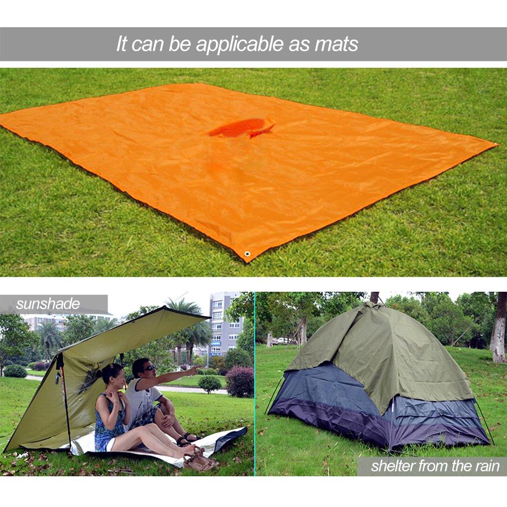 B/âche pour Camping Pique-nique OUTAD Poncho Pluie Imperm/éable /à Capuche 3 en 1 Multifonction Tapis de Sol