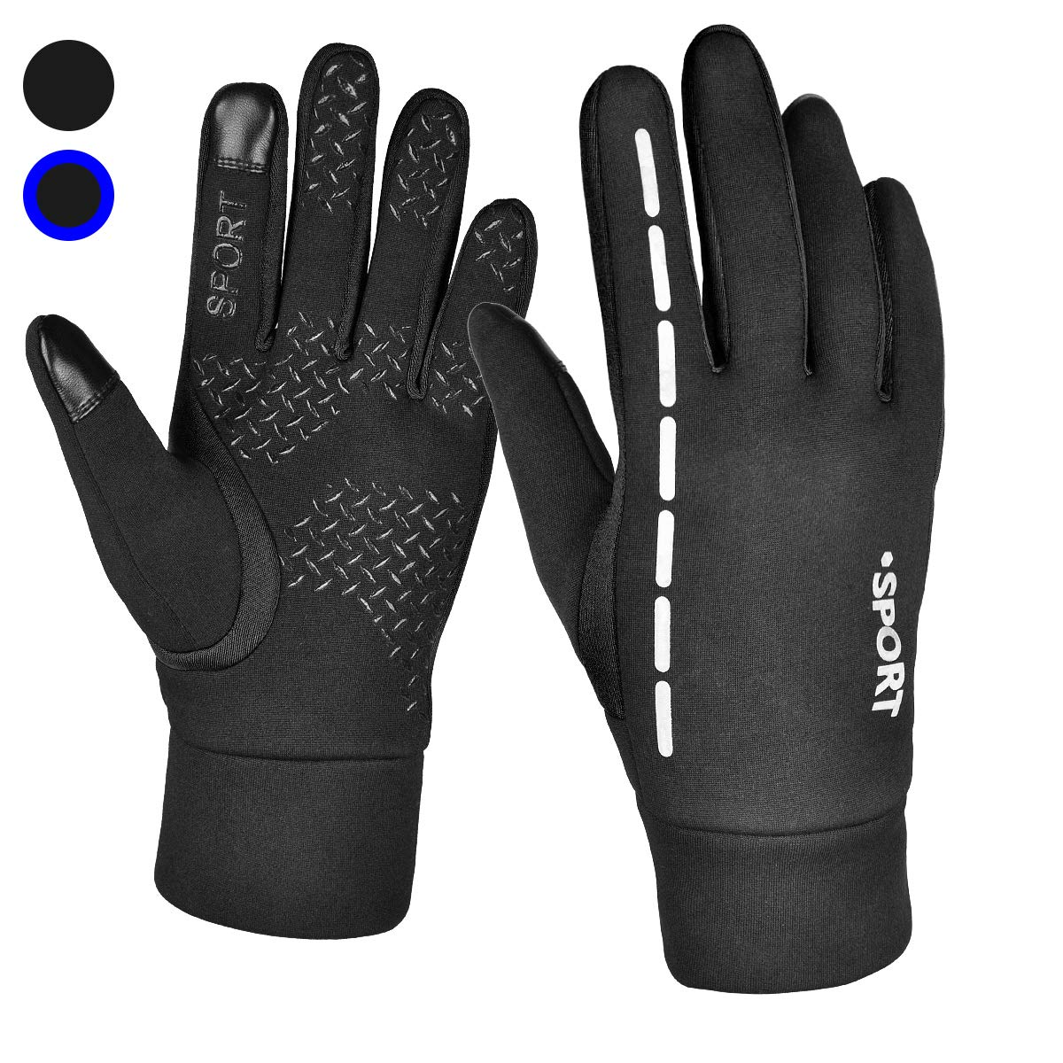 Reflective Design Running Gloves, Full Finger Touchscreen in Winter Outdoor Gel Bike Thin Gloves, Waterproof and Windproof Warm Gloves for Men Women