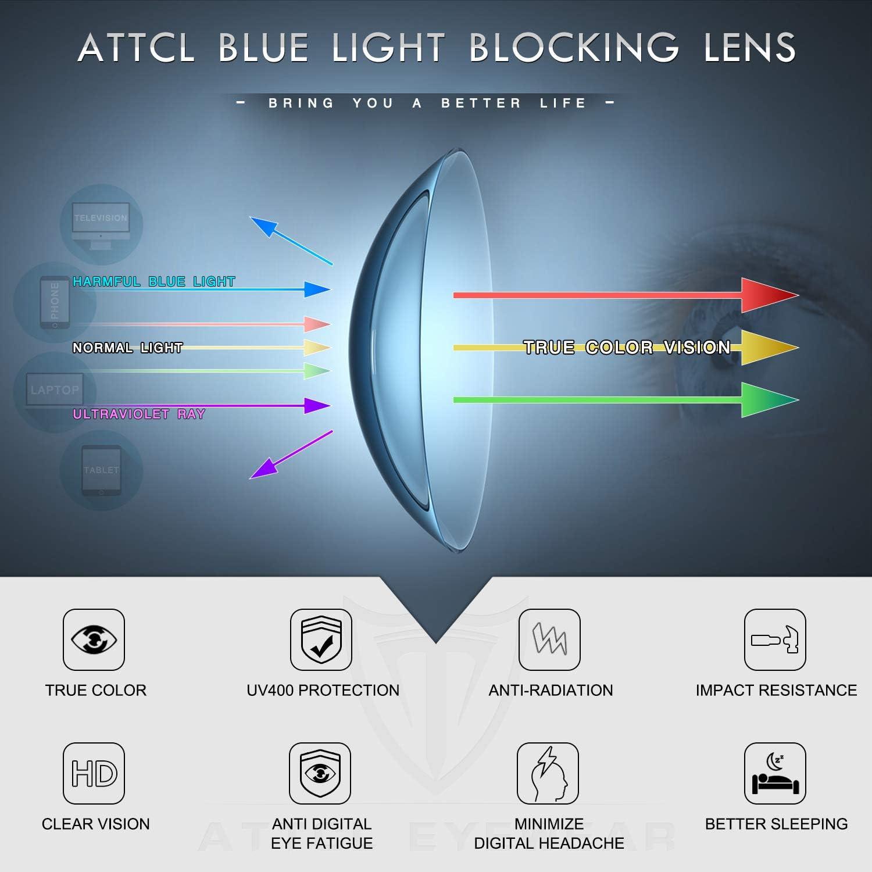 ATTCL occhiali anti luce blu Uomo Donna per il blocco della cefalea UV400 Anti Eyestrain