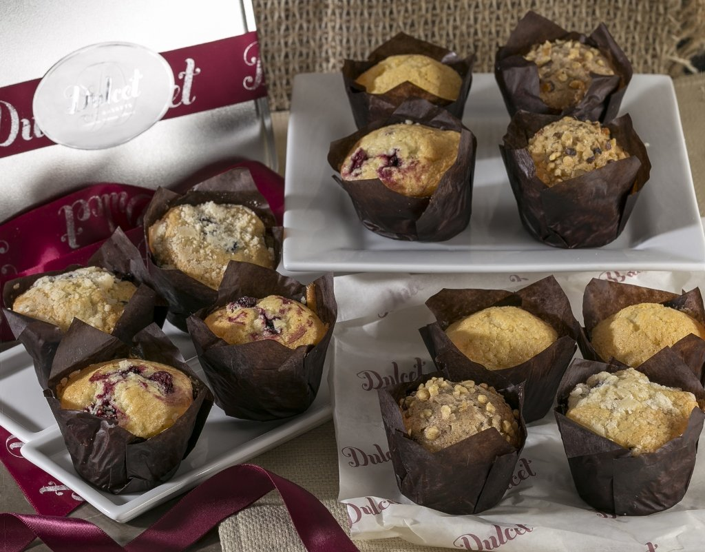 Dulcet Muffins Gift Basket - Includes 4 Delectable Flavors: Cranberry, Corn, Blueberry and Banana. Ideal for Desserts, Breakfasts or Family Gatherings, Always Fresh and Delicious! (12)