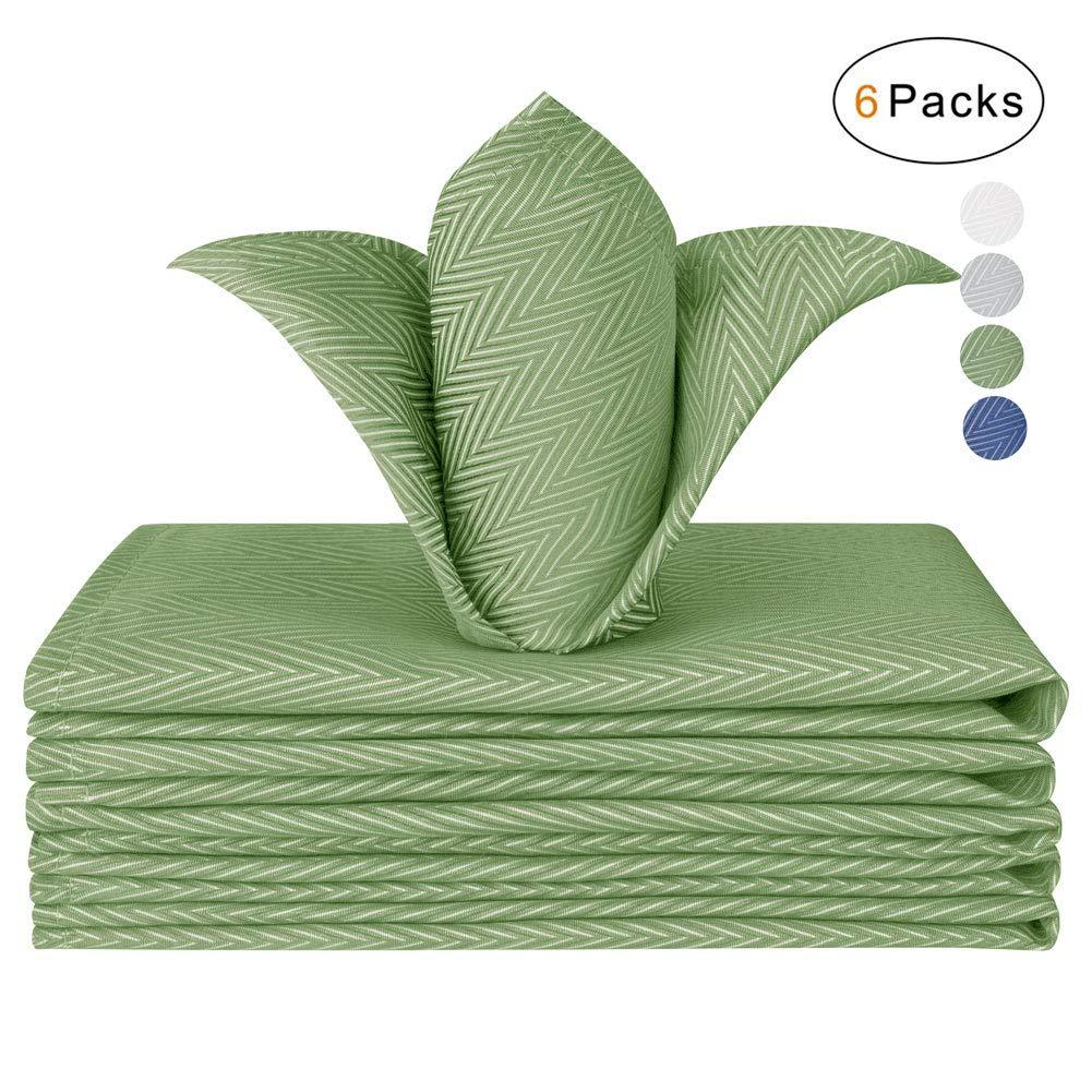 VCVCOO Cloth Napkins Set of 6 Herringbone Jacquard Polyester Napkins for Wedding Party Restaurant Kitchen Table Dinner Napkins (Green, 17x17 inch)