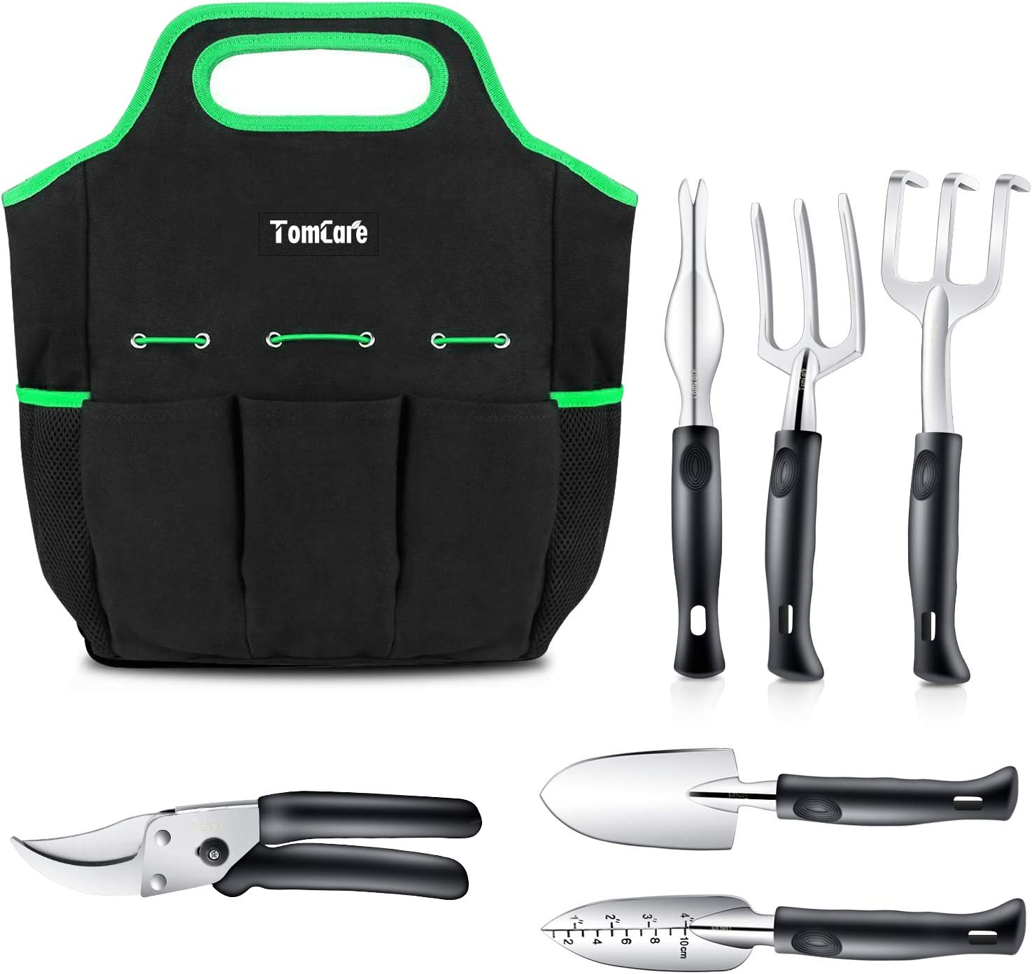TomCare Garden Tools Set 7 Piece Gardening Tools Gardening kit Tool Sets with Heavy Duty Pruning Shears Comfortable Non-Slip Handle and Durable Storage Tote Bag – Garden Gifts for Gardeners Men Women