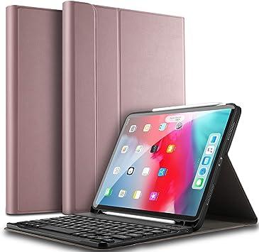 ELTD Teclado Estuche para iPad Pro 11,[QWERTY diseño en inglés], Protectora Cover Funda con Desmontable Wireless Teclado para iPad Pro 11 2019 dispositivoa, (Oro Rosa): Amazon.es: Electrónica