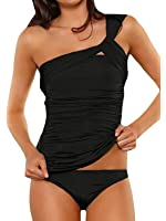 Memory baby Women's One Shoulder Tankini Tummy Control Two Piece Swimsuit Ruched Swimwear