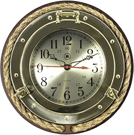 Brass Porthole Clock with Rope