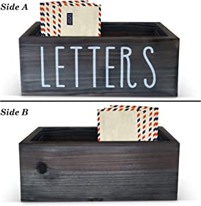 Rustic Mail Organizer Letter Box - Farmhouse Mail Organizer Countertop, Mail Holder for Desk or Table Top, Bill & Coupon Organizer | Rustic Letter Sorter Tray, Desktop Mail Organizer - Grey - 12 inch