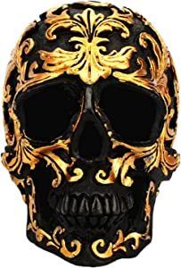 Skull Decorations - Mini Skeleton Skull With Gold Pattern, Creative Skull Sculpture Decor, Resin Craft Human Skull Garden Statues, Halloween Cool Decor For Home, Bar, Office Collection (10x6x8.5cm)