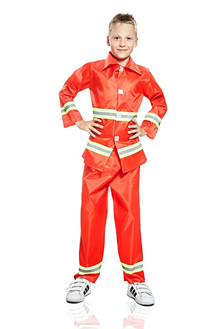 Kids Boys Brave Fireman Halloween Costume Fire Fighting Hero Dress Up & Role Play (3-6 years, red, yellow, metallic)