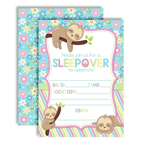 Amazon Cozy Sloth Slumber Sleepover Birthday Party Invitations