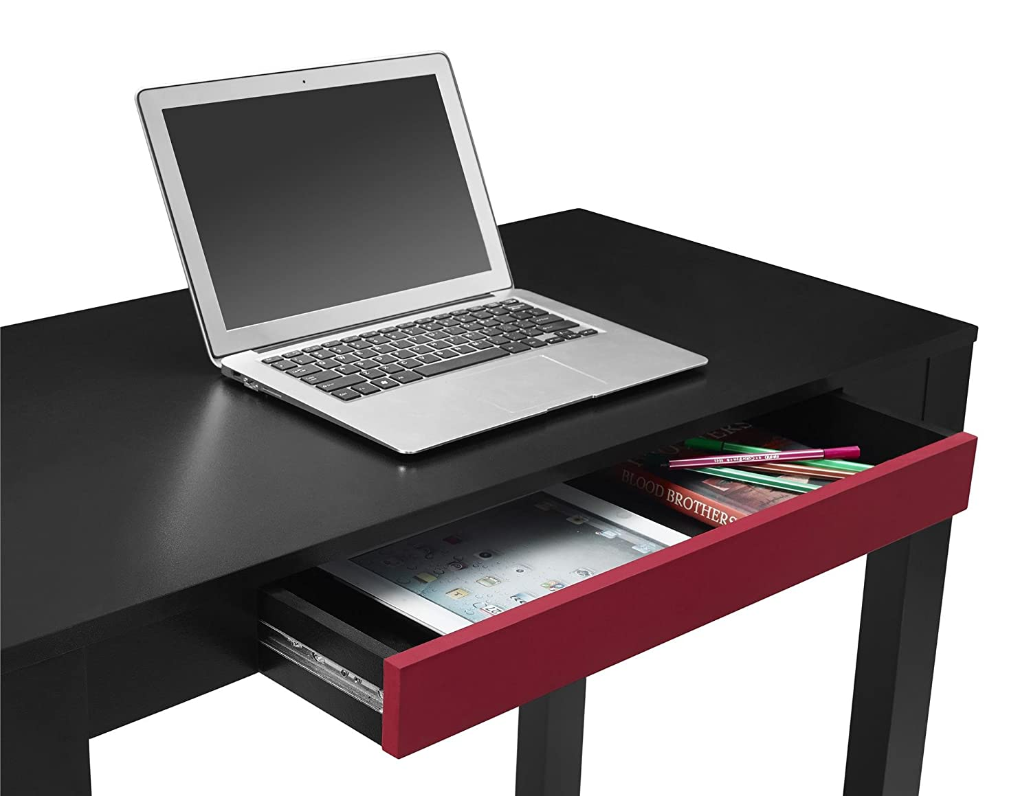 Amazon.com: Altra Parsons Desk with Drawer, Black/Red: Kitchen ...