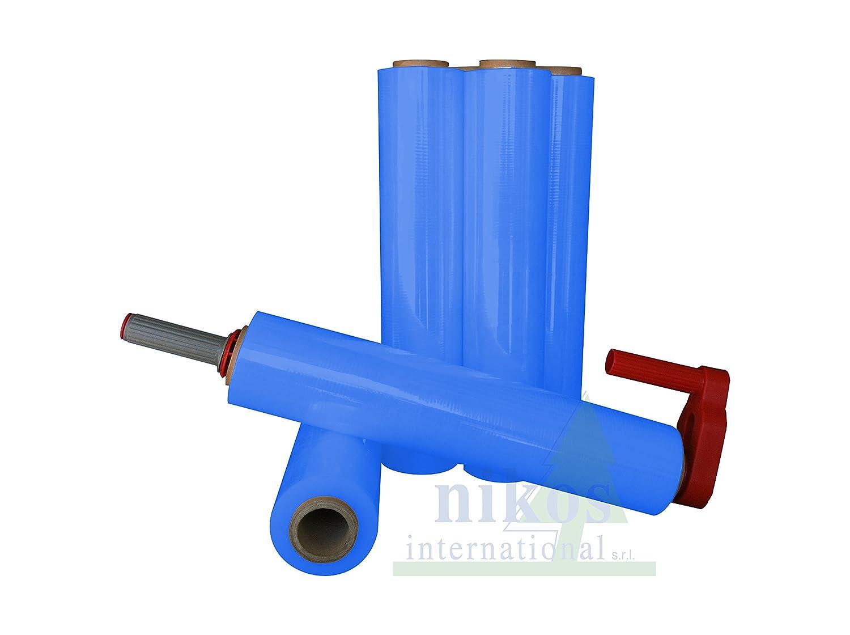 Film Estensibile Blu 23 My in Confezione da 6 Rotoli Elastici di Pellicola Coprente per Imballaggio Nikos International