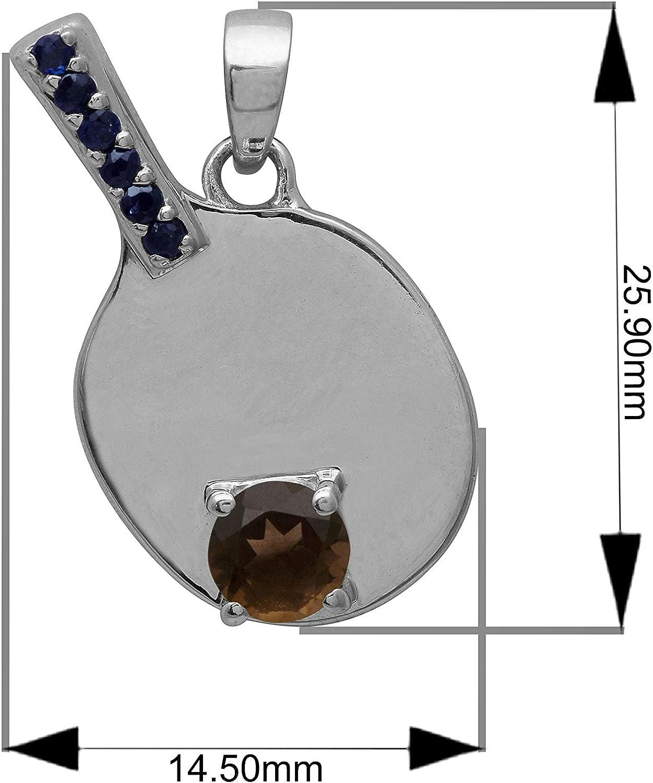 Shine Jewel 3 Dimensional Multi Color Gemstone Tennis Racket Charm 925 Sterling Silver Pendant Smoky-Quartz