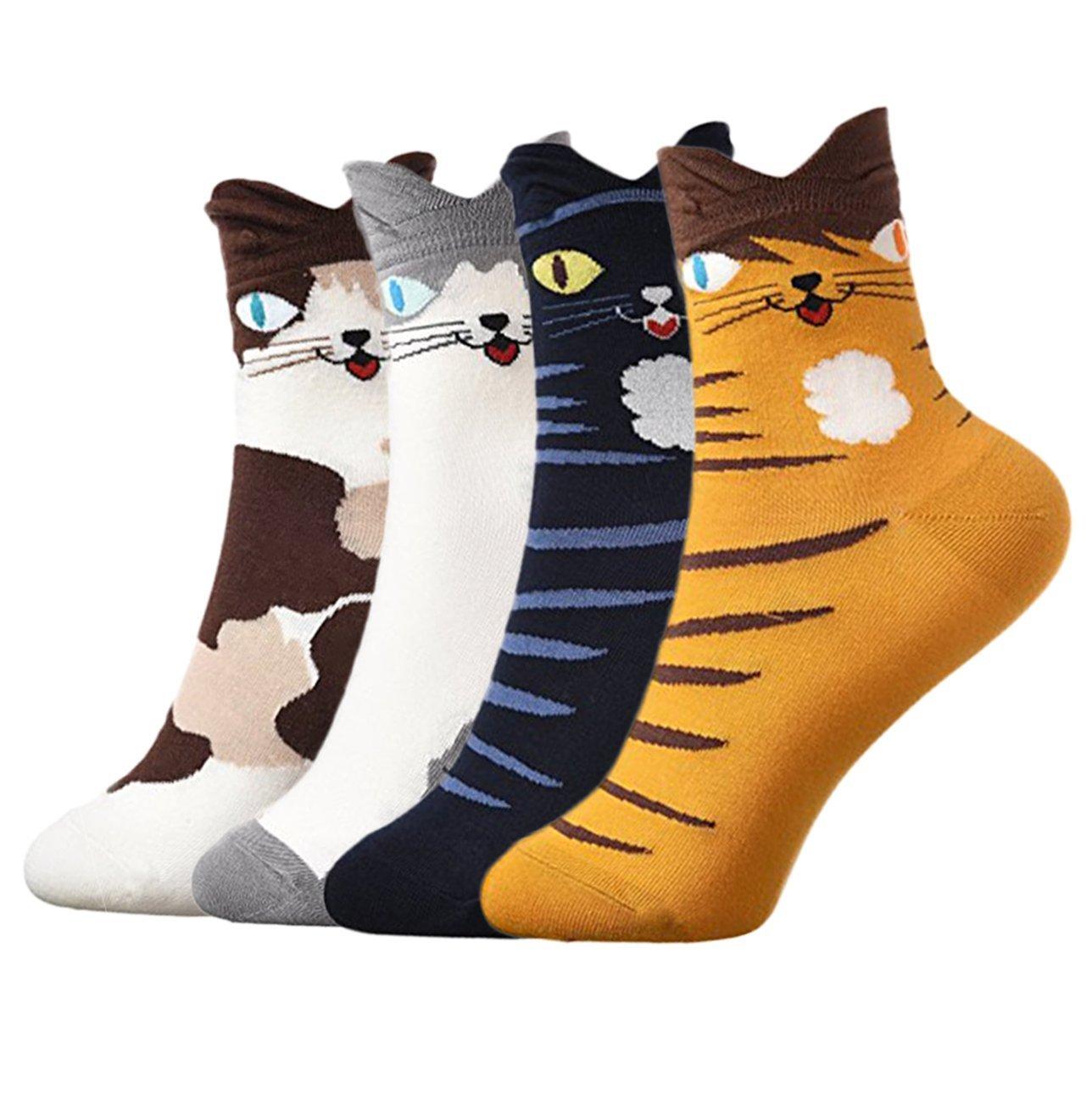 Girl Cartoon Socks,Animal Cats Dogs Pattern Cute Cotton Novelty Crew Socks 4 Pairs-Gift Idea (Cat)
