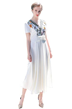 b1f804da5a Image Unavailable. Image not available for. Color  VOA Women s Short Sleeve  Embroidery Cocktail White Midi Silk Dress ALX08201