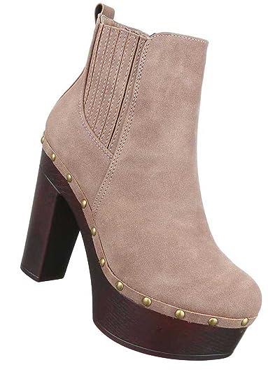 Damen Stiefeletten   Frauen-Stiefel Wadenhohe-Stiefel   Schuhe Lederoptik  Schlupf-Stiefel   8acb741fc1