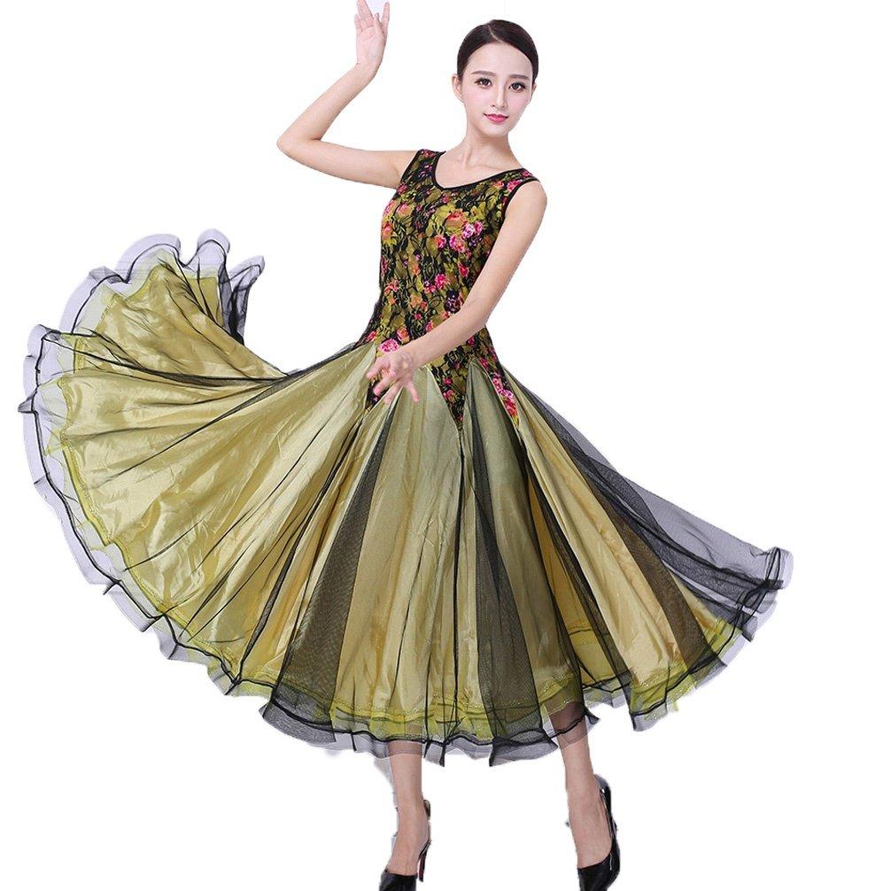 B M MoLiYanZi VêteHommests de Danse de Salon National pour Les Filles Femmes sans Manches Impression Valse Moderne Compétition Danse Robes